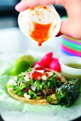 """PHOTOGRAPH BY JUSTIN FOX BURKS - """"Nasty Bits"""" tacos at Tacos Borolas"""