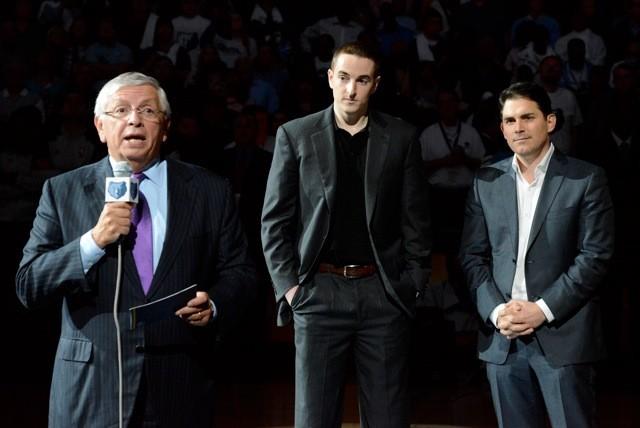 NBA commissioner introduces Robert Pera and Jason Levien before the tipoff Monday night.