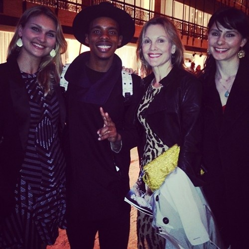 New Ballet Director, Katie Smythe, with Lil Buck (center) and dancers MK Thinnes and CWebster on the Promenade at New York State Theater after Lil Bucks world premiere with famous Parisian photographer and social advocate, JR.