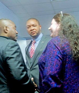New Democratic chairman Bryan Carson with state Representative G.A. Hardaway and asst. city attorney Regina Morrison Newman at post-convention reception.