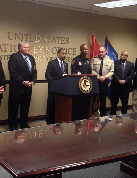 U.S. Attorney Edward Stanton discusses federal indictment of four jailers. - LOUIS GOGGANS