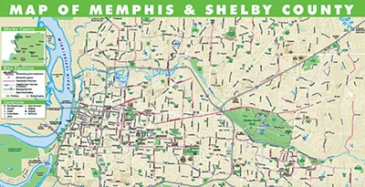 New Memphis - Convention and Visitors Bureau map shows all the bike lanes and trails across the city