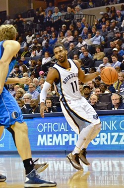 Mike Conley played against Dallas after missing two games with ankle issues. - LARRY KUZNIEWSKI