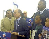 JACKSON BAKER - Ninth District congressman Steve Cohen and the Rev. Keith Norman (right) endorsing Barack Obama