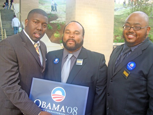Obama enthusiasts J.C. Gamble, Darnell Drewery, and Cornell Jones at the University of Pittsburgh - JB