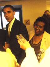 JB - Obama talks to reporters at Nashville as Memphis state representative Barbara Cooper listens.