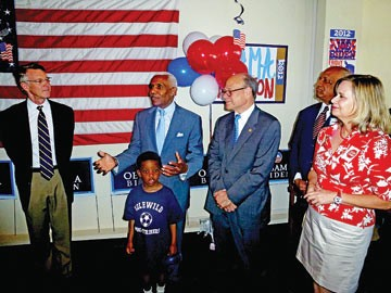 On hand for the opening of the West Tennessee Democratic Resource Center: Chip Forrester, A.C. Wharton (with grandson Andrew), Steve Cohen, Ed Stanton Jr., and Carol Chumney.