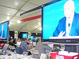 JB - One, two, many John McCains in the big media tent - Follow links to see other pics