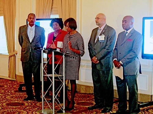 Opening the NBCSL Wednesday at the Peabody were (l to r):State Rep. Larry Miller of Memphis, Tennessee caucus president; State Rep. Brenda Gilmore  of Nashville; State Senator Catherine Pugh of Maryland, national president-elecdt of NBCSL; State Rep.  Joe Armstrong of Knoxville, current president; and state Rep. Allan Williams  of Florida.