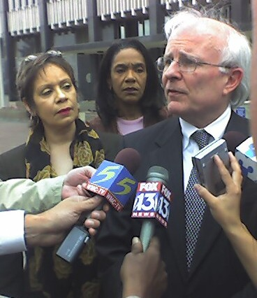 Ophelia Ford (left) and her attorney David Cocke meet the press Tuesday after federal judge Bernice Donald's ruling enjoining the County Commission from appointing a state Senate successor to Ford. (See Editorials, May 16-23.) - JACKSON BAKER