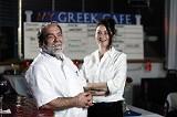 Owner John Gegumis (left) with Lela Taylor - JUSTIN FOX BURKS