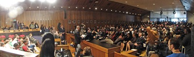 Panorama of the county auditorium during Mayor Ford's maiden address