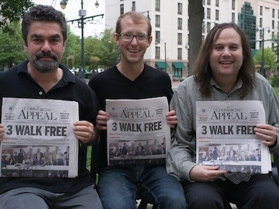 Paradise Lost filmmakers Joe Berlinger and Bruce Sinofsky, with a newly freed Jason Baldwin.
