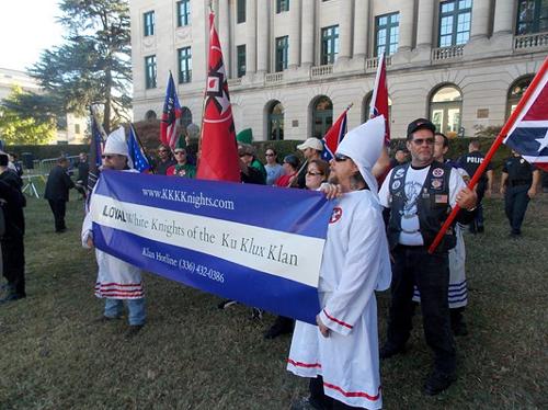 Photo from a KKK rally last year in Charlotte, North Carolina