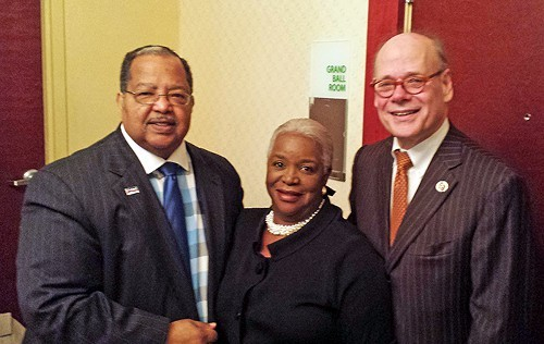 Prayer breakfast host Lowery with wife Mary and principal speaker Cohen