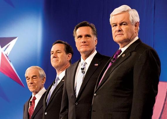 Presidential hopefuls Ron Paul, Rick Santorum, Mitt Romney, and Newt Gingrich