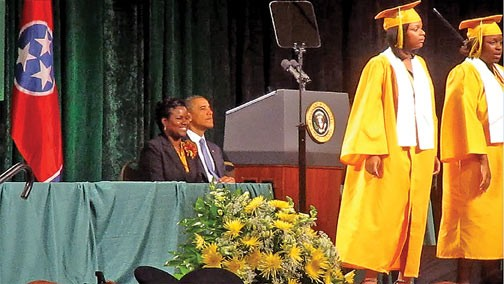 Principal Alisha Kiner and President Obama listen to a musical interlude presented by BTW students. - JB