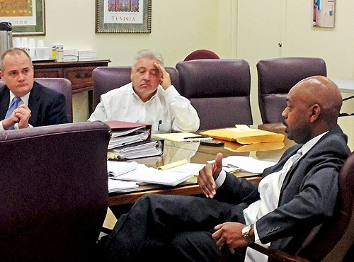Principals Faughnan, Roland, and Wilkins Thursday morning as the Chism hearing got under way.