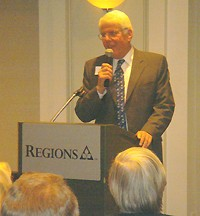 Probate Judge Bob Benham greeted a sizeable group of supporters/revelers at the Regions Bank headquarters on Poplar.