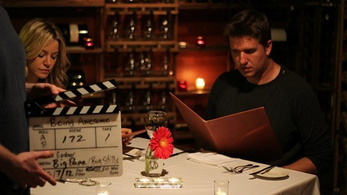 Production still from Hometowner film Being Awesome