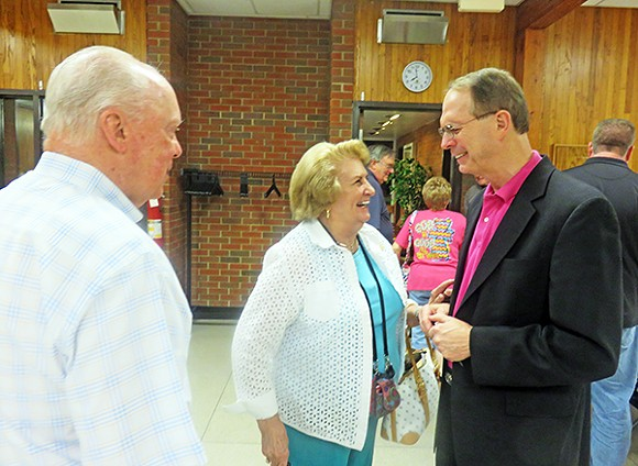 Prospective  state Senate candidate George Flinn talks with  fellow Republicans Jesse Woodall and Jean Drumwright at the Pickering Center in Germantown. - JB