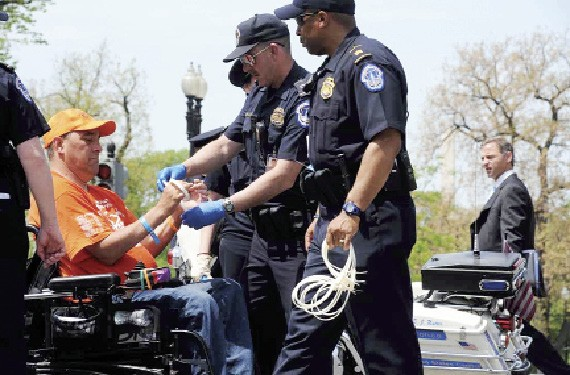 Randy Alexander is arrested for protesting at the White House.