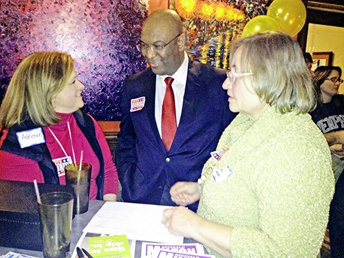 Reginald Milton (center) at recent campaign event with supporters Adrienne Pakis-Gillon (left) and Diane Cambron.