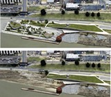 Renderings of the Beale Street Landing with — and without — the project's park.