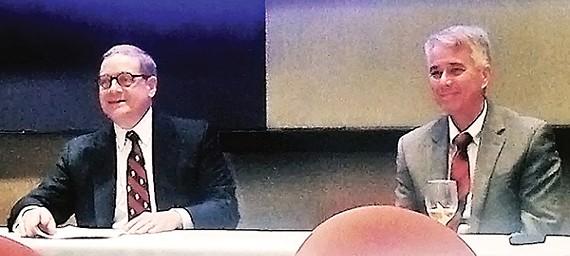 Republican John Ryder and Democrat Steve Mulroy at the Federalist Society forum on Amendment 2.