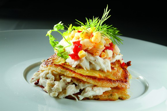 Restaurant Iris' Corn Bread Pancakes with Crab Ravigote - JUSTIN FOX BURKS