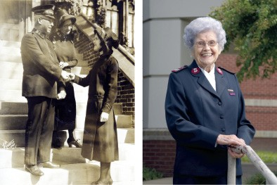 Retired Salvation Army officer Gertrude Purdue in 1930 and today - COURTESY OF THE SALVATION ARMY