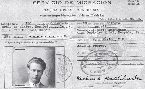 "Richard Halliburton, ""escritor"": Halliburton's travel document used as he explored South America in 1928. At the time, his parents lived at the Parkview, which operated as a residential hotel at the main entrance to Overton Park on Poplar."