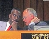 Ritz (right) and colleague James Harvey brainstorming during debate on Monday - JB