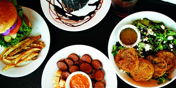 Riverside Hamburger Memphis Style Sausage And Cheese Plate Southern Fried Green Tomato Salad