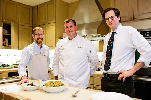 Robby Melvin, Southern Livings Test Kitchen director; Chef Miles McMath; Hunter Lewis, Southern Living executive editor