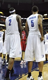 LARRY KUZNIEWSKI/MEMPHIS FLYER - Robert Dozier and Antonio Anderson -- winningest players in NCAA history.