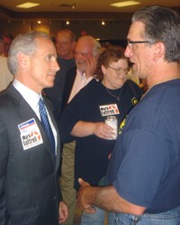 Senate candidate Bob Corker (l) with Angelo Cobrasci at a recent gathering.