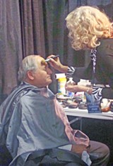 JB - Senator Carl Levin (D-Mich.) getting made up for his stint in Spin Alley