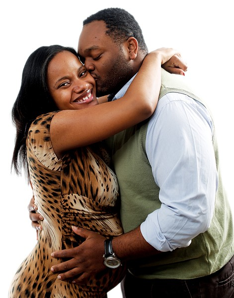 Sharmain Mayes with her fiancé, Renrick Winston - JUSTIN FOX BURKS