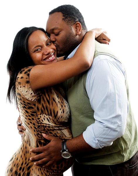 Sharmain Mayes with her fiancé, Renrick Winston - JUSTIN FOX BURKS
