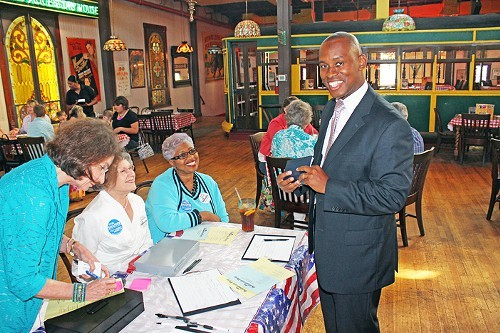 Shelby County Democratic chairman Van Turner, getting ready for Fridays straw vote.