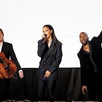 Sir Paul McCartney, Rihanna, and Kanye West perform at the Grammy Awards