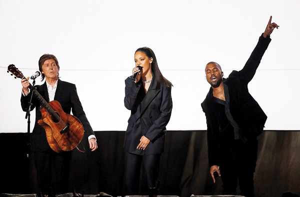 Sir Paul McCartney, Rihanna, and Kanye West perform at the Grammy Awards - REUTERS/LUCY NICHOLSON