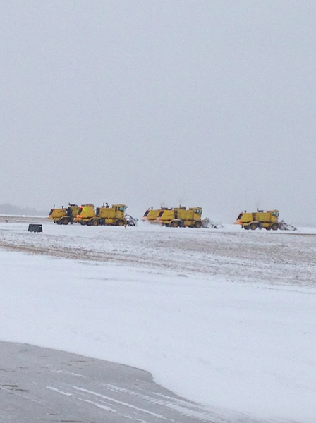 Crews work to de-ice a runway at Memphis International Airport. - MEMPHIS INTERNATIONAL AIRPORT