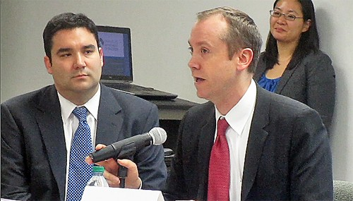 Solar (left) and Huffman at Planning Commission meeting