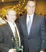 JACKSON BAKER - SOMETHING TO SMILE ABOUT: Memphian Mark White, who, along with local GOP chairman Bill Giannini, got a special citation from the state Republican Party at its annual Statesmens Dinner in Nashville  Saturday night, posed with keynote speaker (and presidential candidate) Mitt Romney of Massachusetts.