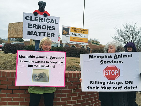 S.O.S. Memphis protests the shelter's mistake. - BIANCA PHILLIPS