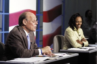 Steve Cohen and challenger Nikki Tinker in a televised debate - BY JUSTIN FOX BURKS