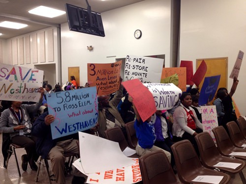 Supporters of Westhaven protest the possibility of their school closing