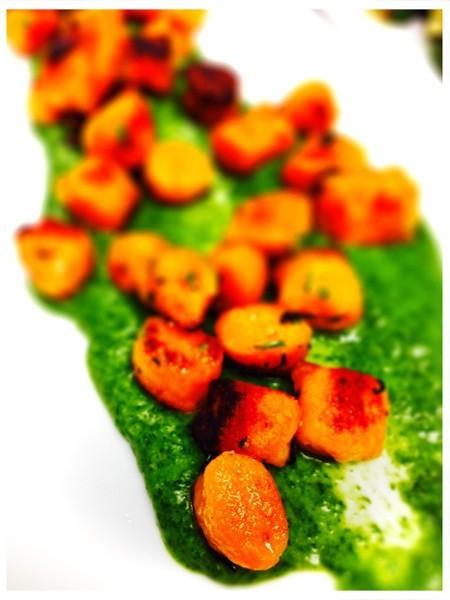 Sweet Potato Dumplings with Spinach Bechamel